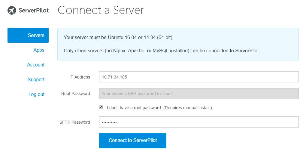 ServerPilot add server